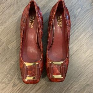 Franco Sarto red burgundy gold casual shoes 7 size